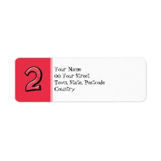 Silly Numbers 2 red Return Address Label label