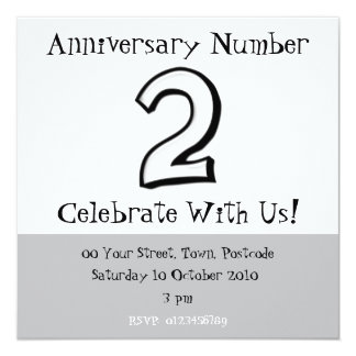 Silly Numbers 2 white Anniversary Invitation