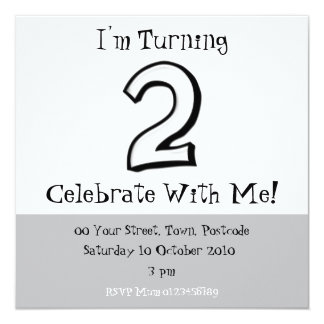 Silly Numbers 2 white Birthday Invitation