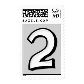 Silly Numbers 2 white Stamp