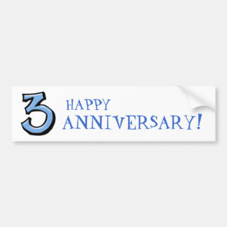 Silly Numbers 3 blue Anniversary Bumper Sticker