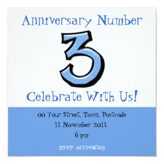 Silly Numbers 3 blue Anniversary Invitation