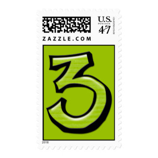 Silly Numbers 3 green Stamp