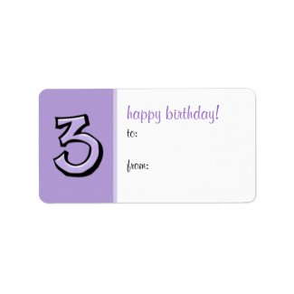 Silly Numbers 3 lavender Birthday Gift Tag Label label