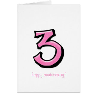 Silly Numbers 3 pink Anniversary Card