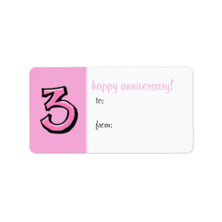 Silly Numbers 3 pink Anniversary Gift Label