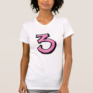 Silly Numbers 3 pink white Ladies T-shirt