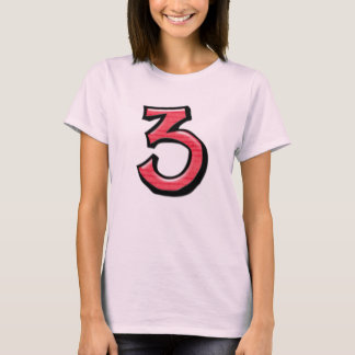 Silly Numbers 3 red Ladies T-shirt