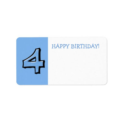 Silly Numbers 4 blue Birthday Gift Sticker Label