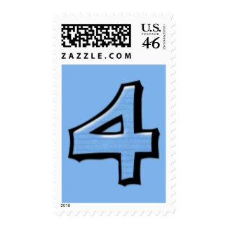 Silly Numbers 4 blue Postage stamp