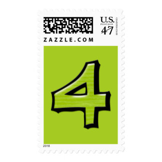 Silly Numbers 4 green Stamp