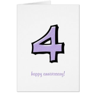 Silly Numbers 4 lavender Anniversary Card card