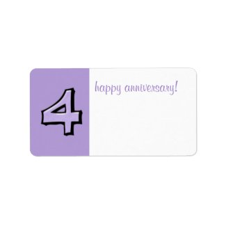 Silly Numbers 4 lavender Anniversary Gift Label label