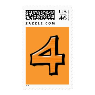 Silly Numbers 4 orange Stamp stamp