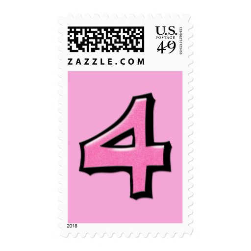 Silly Numbers 4 pink Stamp