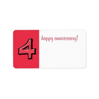 Silly Numbers 4 red Anniversary Gift Label label