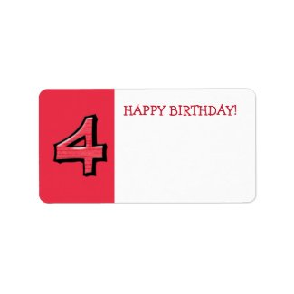 Silly Numbers 4 red Birthday Gift Sticker label