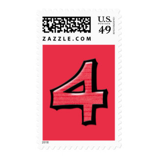 Silly Numbers 4 red Stamp
