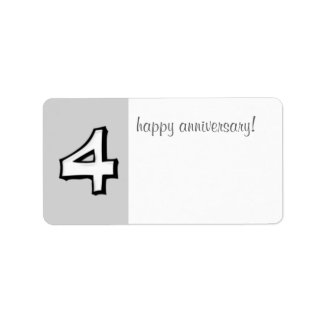 Silly Numbers 4 white Anniversary Gift Label label