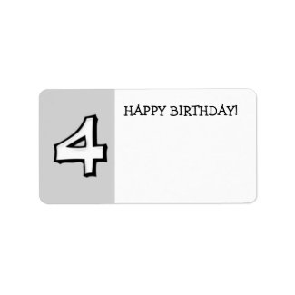 Silly Numbers 4 white Birthday Gift Sticker label