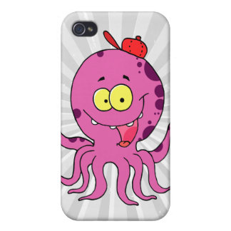 silly octopus wearing baseball cap hat iPhone 4/4S case