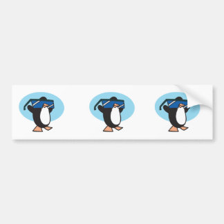 silly penguin with big sunglasses bumper sticker