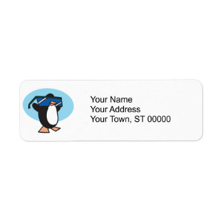 silly penguin with big sunglasses label