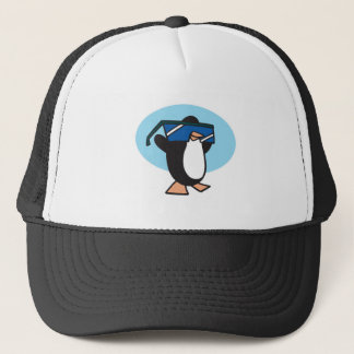 silly penguin with big sunglasses trucker hat