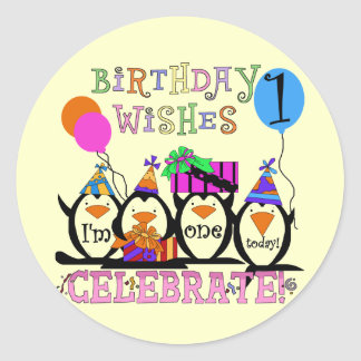Silly Penguins 1st Birthday Tshirts and Gifts Classic Round Sticker