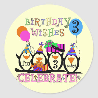 Silly Penguins 3rd Birthday Tshirts and Gifts Classic Round Sticker