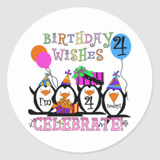 Silly Penguins 4th Birthday T-shirts and Gifts Classic Round Sticker