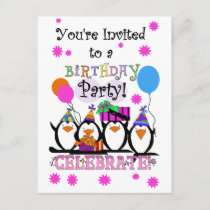 Silly Penguins Birthday Cards and Invitations