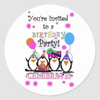 Silly Penguins Birthday Cards and Invitations Classic Round Sticker