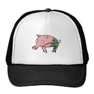 silly pig in overalls trucker hat