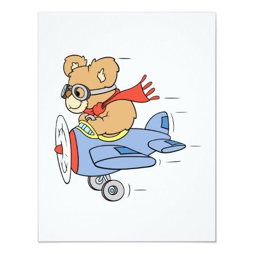 Silly Pilot Bear 4.25x5.5 Paper Invitation Card