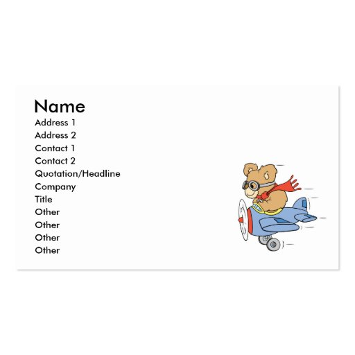 Silly Pilot Bear Business Card Templates
