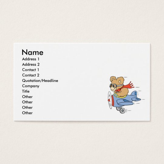 Silly Pilot Bear Business Card