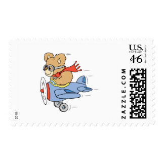 Silly Pilot Bear Postage Stamp