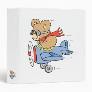 Silly Pilot Bear Vinyl Binders
