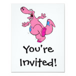 "silly pink dancing dinosaur dino 4.25"" x 5.5"" invitation card"