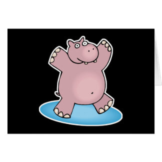 silly pink dancing hippo cards