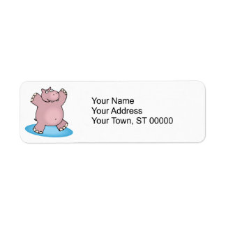 silly pink dancing hippo label