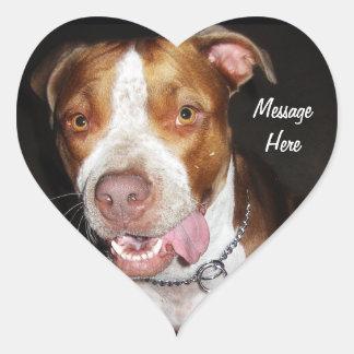 Silly Pitbull Portrait Heart Sticker