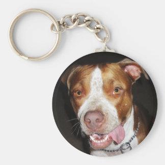 Silly Pitbull Portrait Keychain