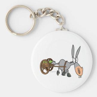 silly plodding donkey mule cartoon basic round button keychain