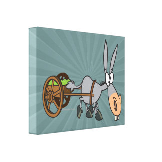 silly plodding donkey mule cartoon gallery wrapped canvas