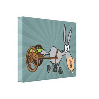 silly plodding donkey mule cartoon canvas print