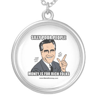 SILLY POOR PEOPLE ROUND PENDANT NECKLACE