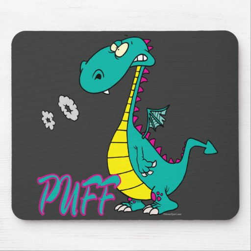 silly puff dragon cartoon character mouse pad