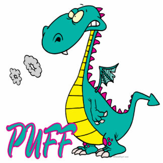 silly puff dragon cartoon character photo cut out